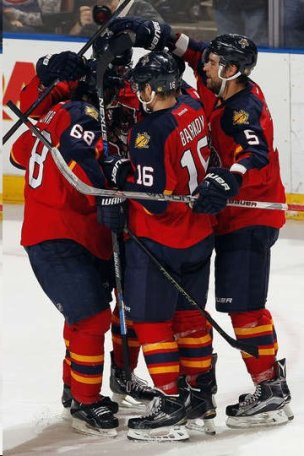Scenes like this are good news for Florida as Barkov, Jagr and Aaron Ekblad gather to celebrate a Panthres goal.