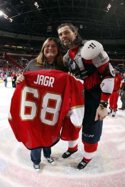 A lucky day indeed. At the memorabilia shop at the BB&T Center an autographed game used Jagr jersey sells for $5,000.